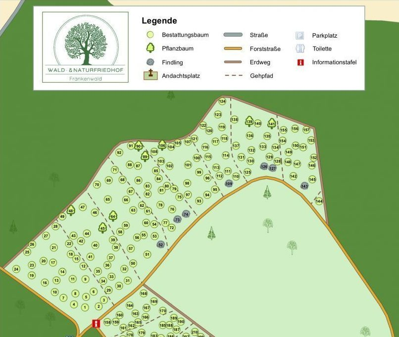 Friedhofskarte Waldfriedhof Issigau