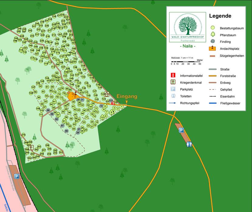Friedhofskarte Waldfriedhof Naila